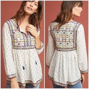 Anthropologie Embroidered Boho Magowan Peasant Top